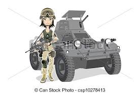 Female Soldier Beautiful With Gun And Tank Vector Clip