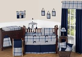 Navy Blue and Grey Plaid Boys Baby Bedding 9pc Crib Set by Sweet