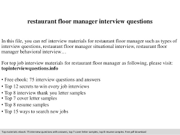 Restaurant Floor Manager Interview Questions In This File You Can Ref Materials For