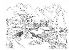 Coloring Pages For Adults Nature On Design Ideas Pertaining To
