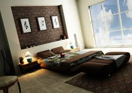 ApartmentBeach Themed Apartment Bedroom Modern Oriental Style Decor With Brown Color Nuance