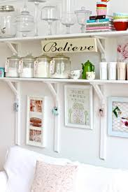 painted white color diy wood wall mounted folding kitchen shelving