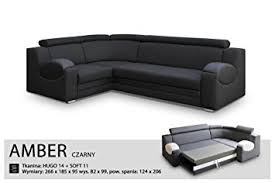 universal hand corner sofa bed amber black fabric faux