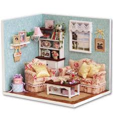 DIY Wooden Doll House Toy Bookstore Furniture Model Miniature Kit