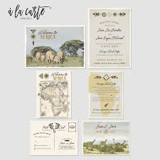 African Safari Destination Wedding Invitation Suite Kenya Rustic Zoo Illustrated Vintage Map Elephants Giraffe