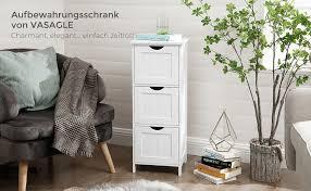 vasagle bathroom cabinet storage cabinet slim bathroom cabinet with 3 drawers 32 x 30 x 81 cm bathroom living room bedroom kitchen scandinavian style