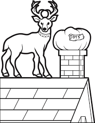 Christmas Coloring Page Of A Reindeer On Roof