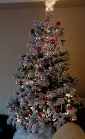 Flocked Real Christmas Trees by Pink Flocked Christmas Tree Christmas Lights Decoration
