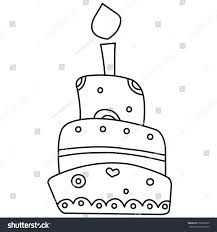 Black and white illustration of a birthday cake Vector
