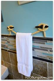 Full View Of Diy Nautical Towel Holder And Cleats