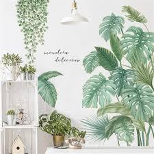 diy groß wandtattoo wandaufkleber grüne pflanze blätter schildkrötenblatt wandsticker wanddeko für wohnzimmer schlafzimmer flur kühlschrank stil b