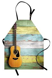 Ambesonne Music Apron Acoustic Guitar On Colorful Painted Aged Wooden Planks Rustic Country Design Print