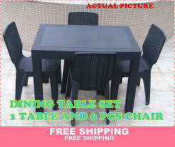 DINING TABLE SET (TABLE AND 6PCS CHAIR) OUTDOOR TABLE INDOOR TABLE DINNING  ROOM SET FURNITURE SET RATTAN DESIGN SUNRISE 24