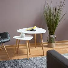 satztisch 2er set platzsparende beistelltische im nordischen design blumentisch und zeitungsablage weiß
