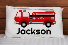 Personalized Fire Truck Pillowcase - Birthday Gift For Boy, Toddler ...