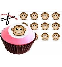 Sale 12 CHEEKY MONKEY 38mm 15 Inch PRE CUT Cake Toppers Edible Rice Paper Cupcake Decoration