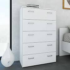 pharao24 schlafzimmer kommode in weiß 5 schubladen