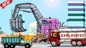 Trucks Cartoon For KIDS: The Excavator, Explosive Demolition Truck ...