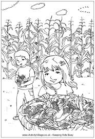 Picking Corn Colouring Page