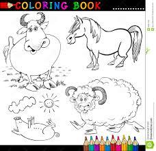 Animals Book Cartoon Children Coloring Farm