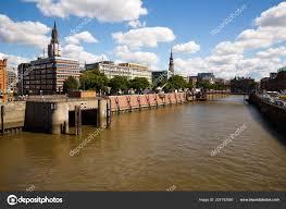 100 Water Bridge Germany Hamburg August 2016 Elbe River Buildings