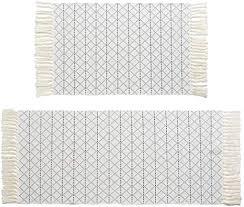 boho marokkanische quaste badezimmer teppich läufer set grau weiß gewebt bad matte küche teppich 2 stück 11 6 x 61 9 cm 91 9 x 51 9 cm baumwolle