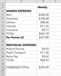 A Sample Budget Spreadsheet As You Can See Here The Total Living Expenses Per Week Would Be About 260