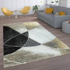 retro teppich wohnzimmer linien gold schwarz beige