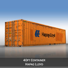 100 40ft Shipping Containers Container Hapag Lloyd 3D Model