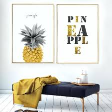 Wooden Pineapple Wall Decor Kitchen Gold Letters Canvas Paintings Nordic Posters Prints Minimalist Art Picture For
