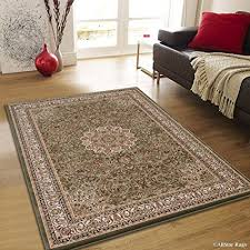 Allstar 5 X 8 Sage Green With Beige Dense High Pile Persian Area Rug