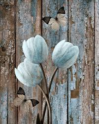 Vintage Rustic Tulip Flowers Butterflies Wall Art Home Decor Matted Picture