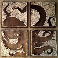 4 Panel Octopus Nail And String Art Original Von BrokenwingArts Cuadros Diy Ideas