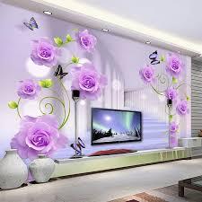 custom foto tapete moderne lila blumen 3d stereoskopischen wohnzimmer tv sofa hintergrund wand wohnkultur 3d wandmalereien