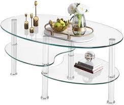 goplus couchtisch glas glastisch oval kaufland de