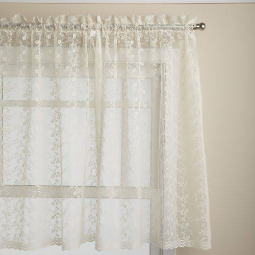 "Priscilla Lace Curtain, 60""W x 36""L Tier Pair Ivory"