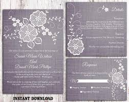 DIY Lace Wedding Invitation Template Set Editable Word File Download Printable Rustic Vintage Floral Blue