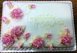 Bridal Shower Sheet Cake With Pink Roses