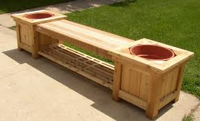 long size wood bench ideas had two space for plant and shelf in