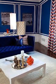 Blue Velvet Sofa Living Room Modern With White Orange Hollywood Regency