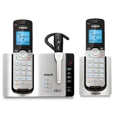 Amazon VTech DS6671 3 DECT 6 0 Expandable Cordless Phone with Bluetooth Connect Answering System Silver Black with 2 Handsets and 1 Cordless Headset
