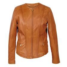 sophie collarless leather jacket tan hidepark