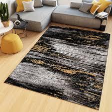 teppich kurzflor modern design schwarz grau gelb weiß