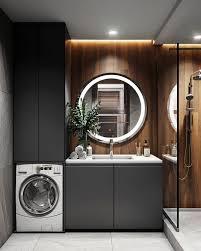 built in integrated washing machine bathroom wood walls