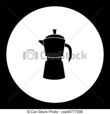 Black Isolated Moka Pot Italian Coffee Maker Eps10