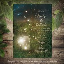 Rustic Garden Lights Wedding Invitation Mason Jar Firefly Summer Invite Enchanted Forest