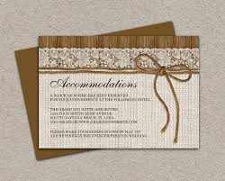 DIY Printable Rustic Wedding Accommodation Cards With Burlap