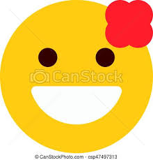 Smiling Emoji With Flower Vector Clip Art