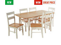 Fully Assembled Chicago Ext Solid Wood Dining Table 6 Chairs