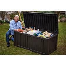amazon com keter rockwood plastic deck storage container box